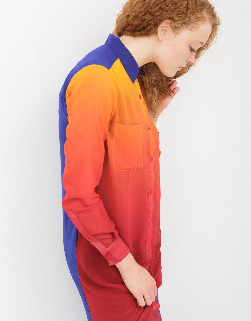 SHEER OMBRE LONG SHIRT DRESS