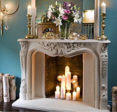 Grouped Candles In A Fireplace Fireplaces Home Decor