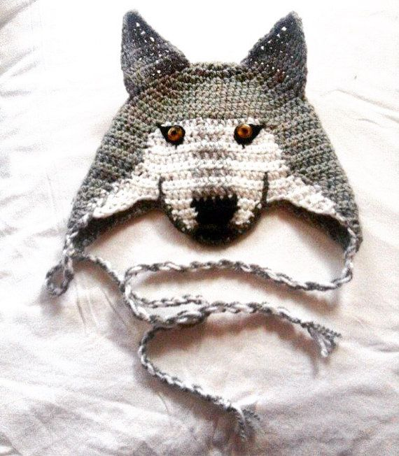 Crochet Wolf Hat Wolf Beanie Newborn Photo Props by TheThriftyWolf ... 7c3437c07f2