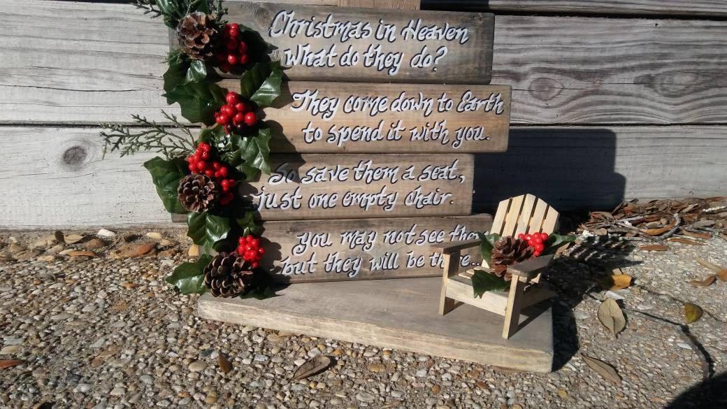 Christmas in Heaven, Memorial Display, Rustic, primitive, bows and