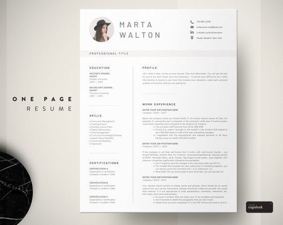 one page resume template instant download  1 page resume