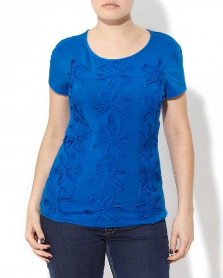 Flower Voile Tee: Nothing short of stellar, our short-sleeve cotton/modal top with voile soutache detail is the top every girl should have. $29.00 | Princess Blue