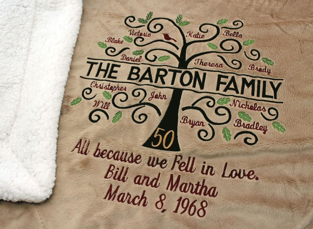 We just got GOLD blankets in and how perfect they are for the 50th wedding anniversary! The perfect family tree blanket for an anniversary or birthday! BLANKET DESCRIPTIONS: * Gold Plush - Our most luxurious blanket, when only the best will do. Blanket size: 50″ x 60″. Super soft Micro Fleece on one side, and plush faux premium Lambswool Sherpa on the other. On-seam zipper design completely conceals embroidery back between fabric layers. Machine washable. IMPORTANT: Include this information with