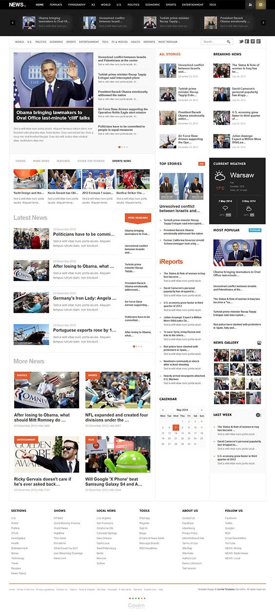 NEWS Joomla Magazine Template Joomla Templates Pinterest
