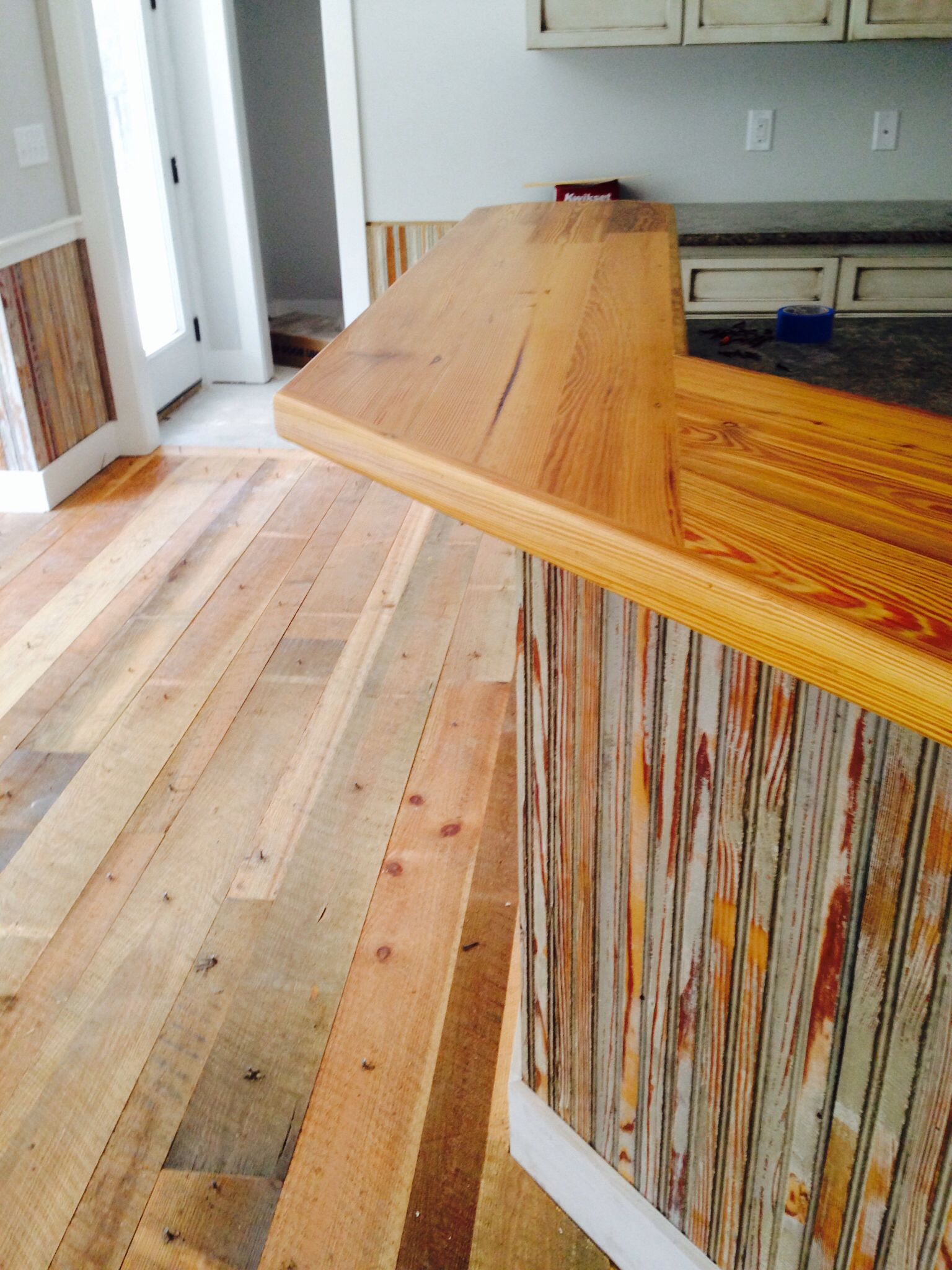 Heart pine bar top with reclaimed beadboard   Our House Our Dream ...