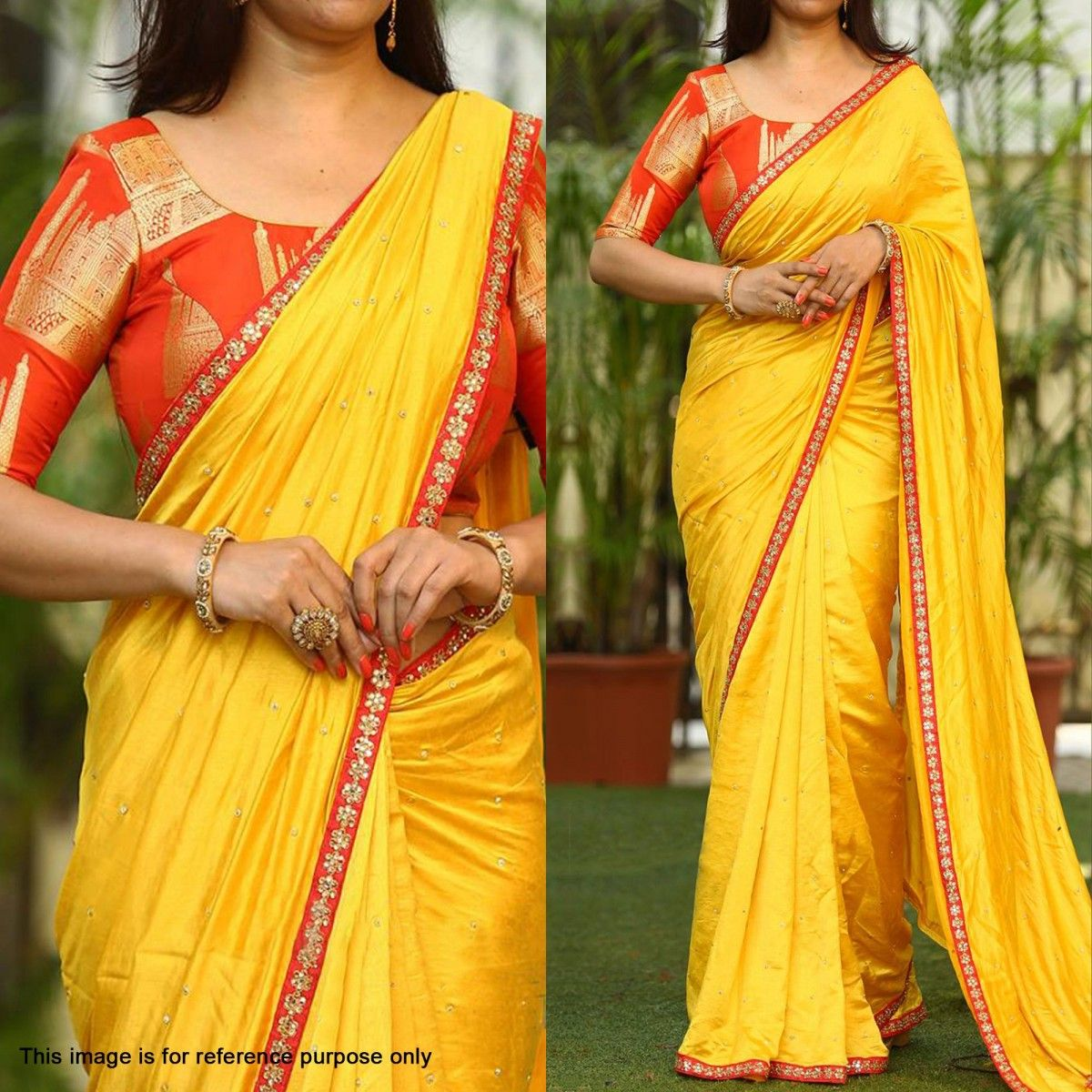 65d74b595c05f Buy Stunning Yellow Designer Paper Silk Saree at Rs. 1499- Get latest Partywear  Saree for womens at Peachmode. Genuine Products