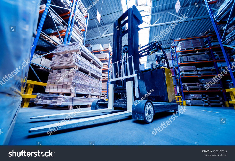 Forklift Loader In Storage Warehouse Ship Yard Distribution