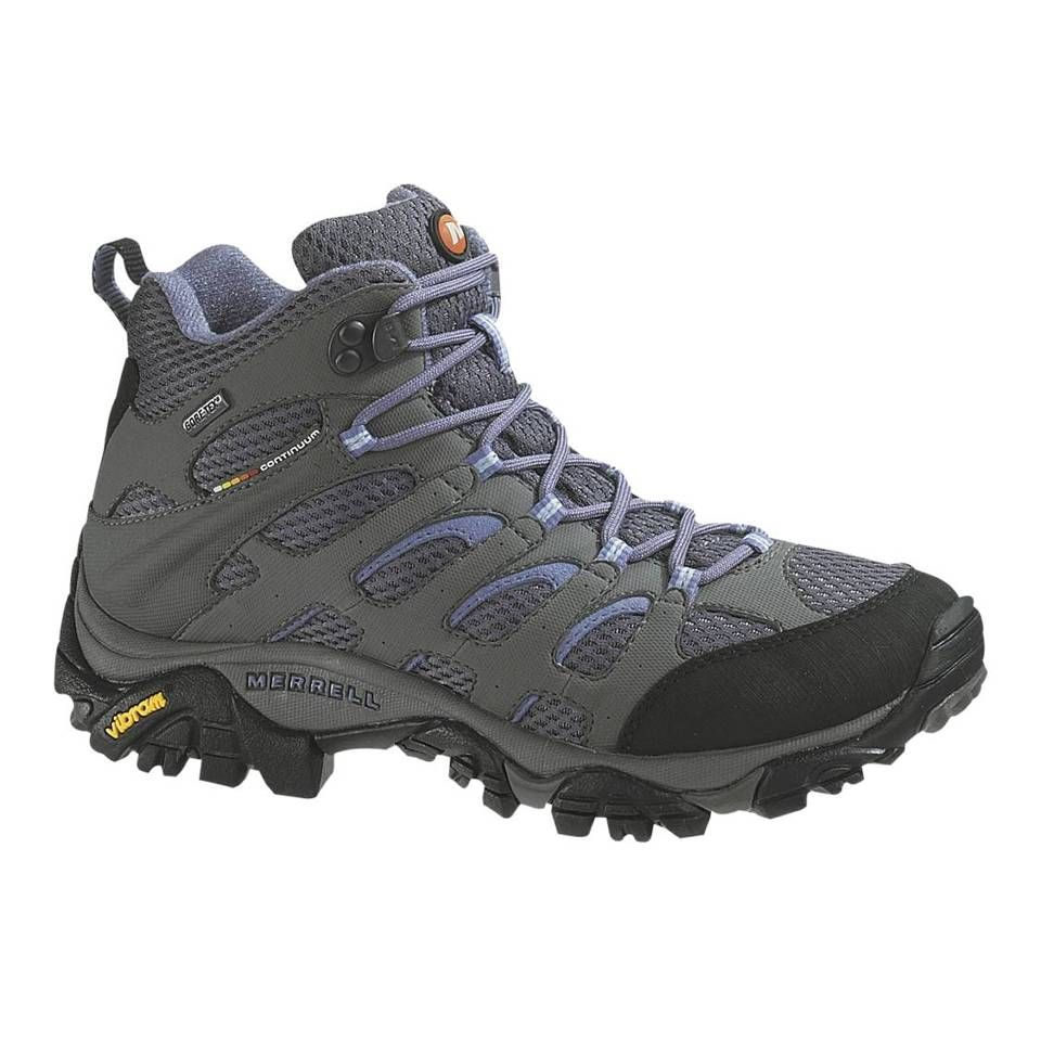 Women's Hiking Boots For Sale Merrell Moab Mid Women GORE TEX Grey/Periwinkle J87316 Just Buy It