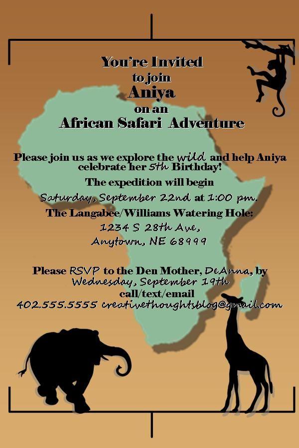 African Safari Birthday Party Safari Party Invitations