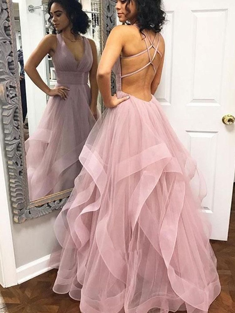 fed0bab9a37 Pink Tulle V-neck A-line Cross Back Long Prom Dress
