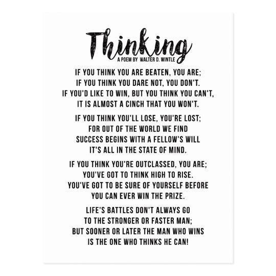 Thinking - Powerful Motivational Poem Postcard | Zazzle.com
