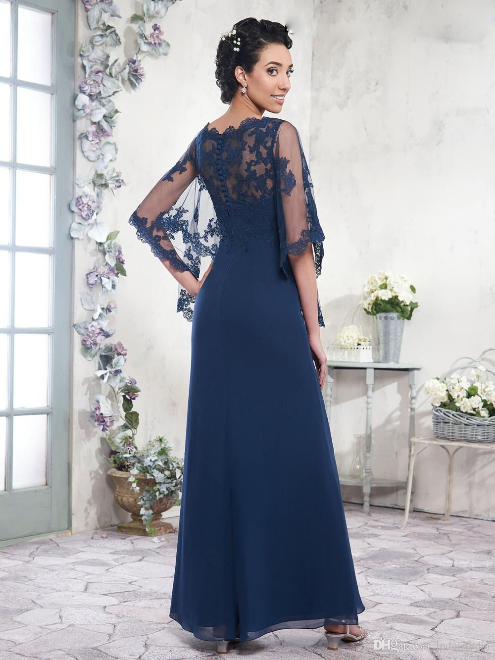 2017 navy blue mother of the bride dresses chiffon a line