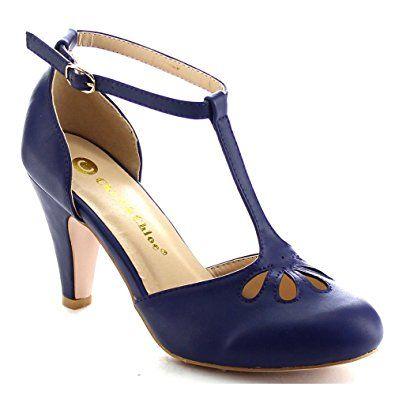 Amazon.com | Chase & Chloe Kimmy-36 Women's Teardrop Cut Out T-Strap Mid Heel Dress Pumps | Pumps