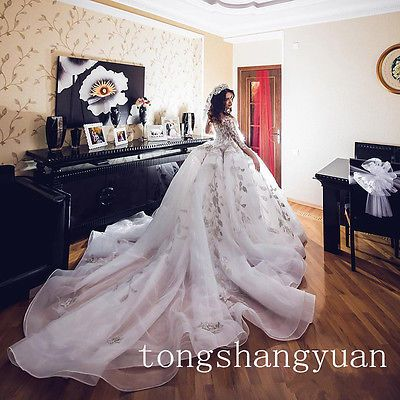 Unique White 3/4 Sleeve Wedding Dresses Long Cathedral Train Bridal Gowns Custom