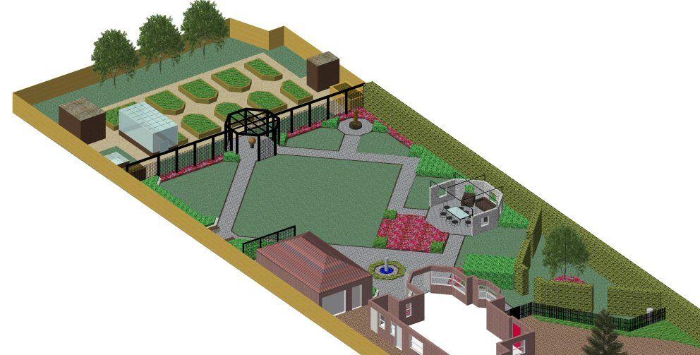 Garden Design Cad 3-d cad model of a garden design plan for a 1-acre garden in