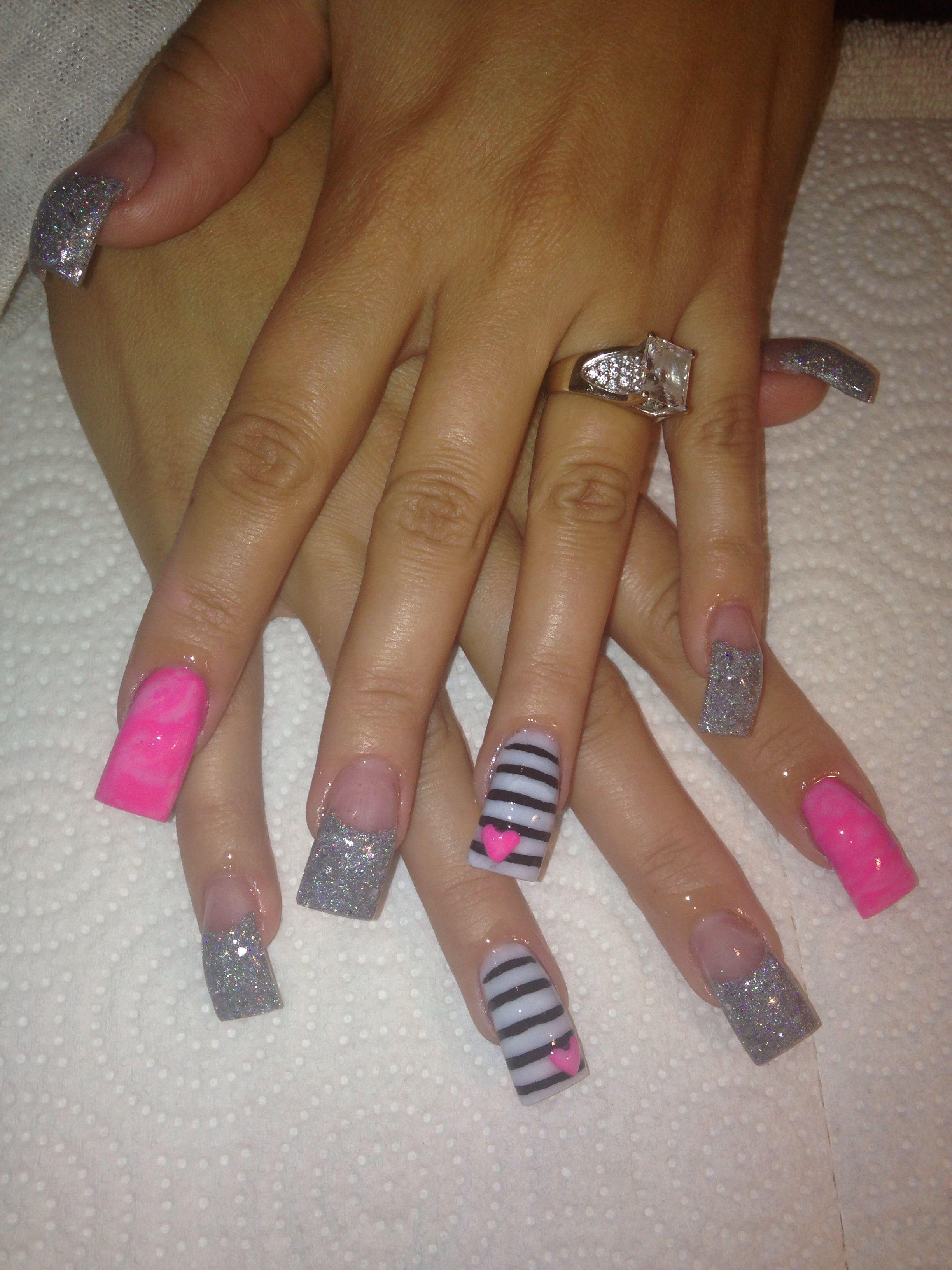 valentines acrylic nails