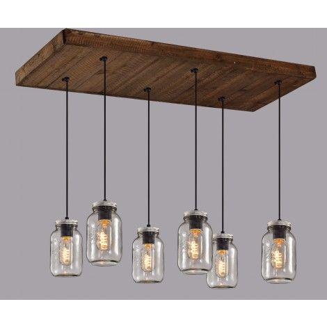 luminaire suspendu sur base rectangle en bois avec 6 pots. Black Bedroom Furniture Sets. Home Design Ideas