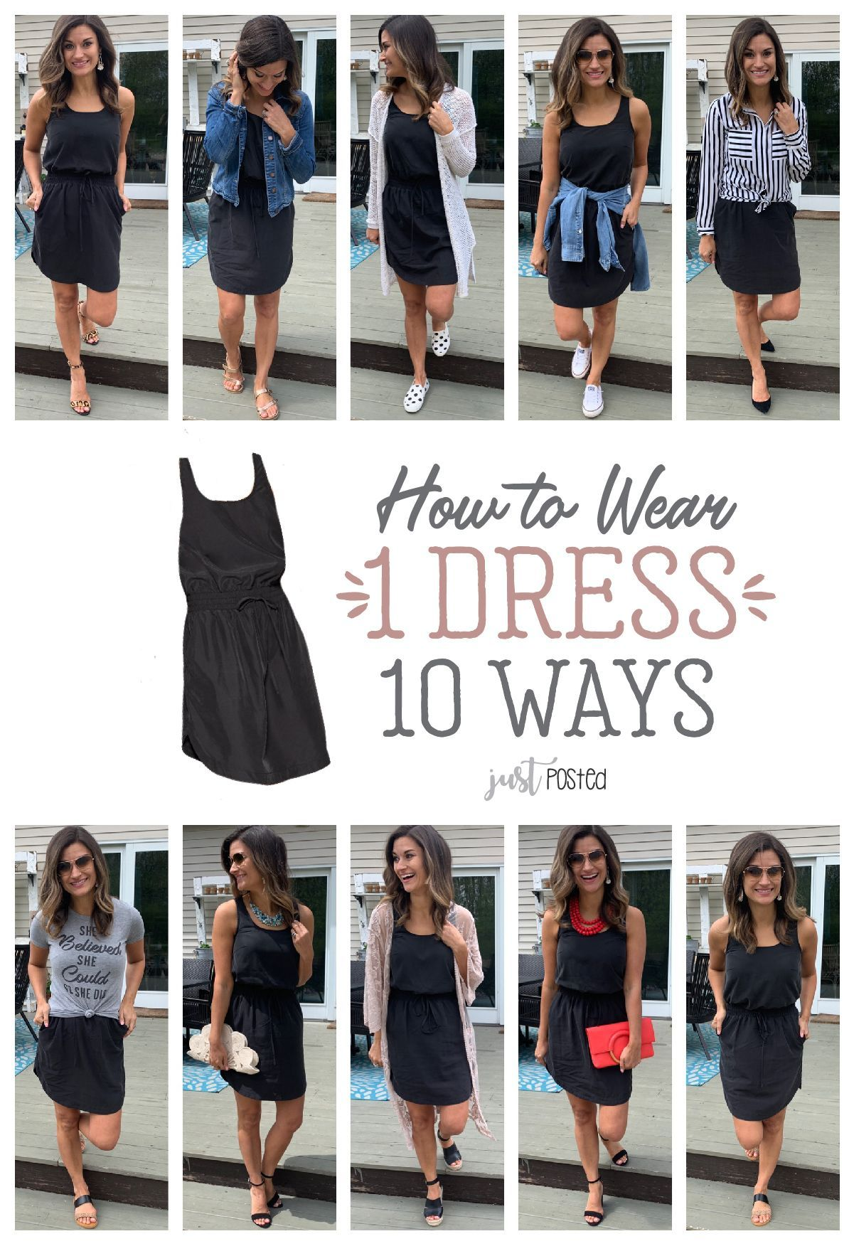 How To Wear And Style 1 Black Dress 10 Different Ways Fashion Casual Dress Outfits Fashion Black Dress Outfit Casual [ 1752 x 1201 Pixel ]