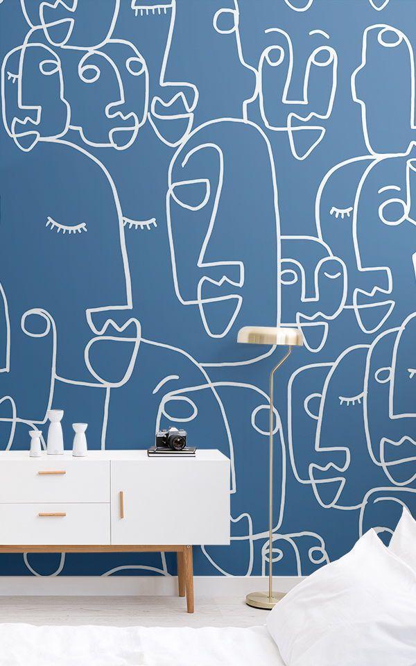 Blue Line Drawing Wallpaper | Cool Face Design | M