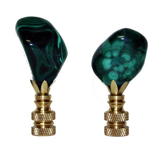 Pair Of Polished Malachite Lamp Finials Finials Lamp Finial Stone Lamp