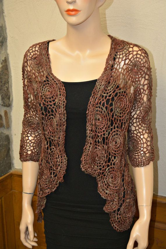 Crochet Cardigan, chocolate cardigan, brown cardigan, Summer cover ...