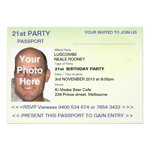 Party Passport Cm X Cm Invitation Card  Farewell Party
