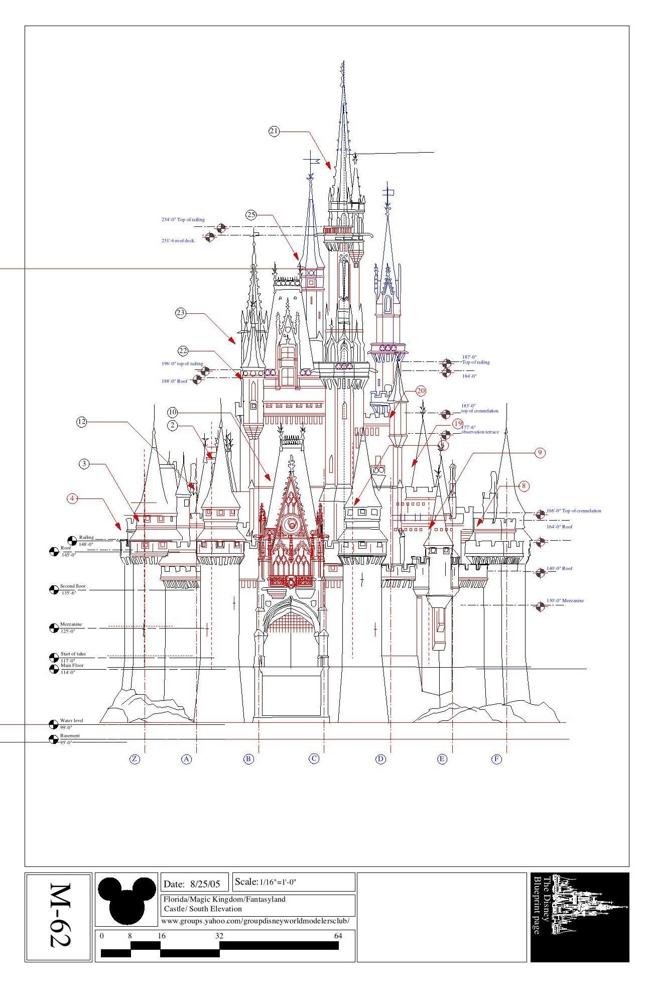Disney imagineering blueprints for cinderella 39 s castle for Florida blueprint
