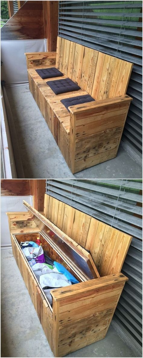 wood pallet bench with storage wooden pallet projects on useful diy wood project ideas id=22637