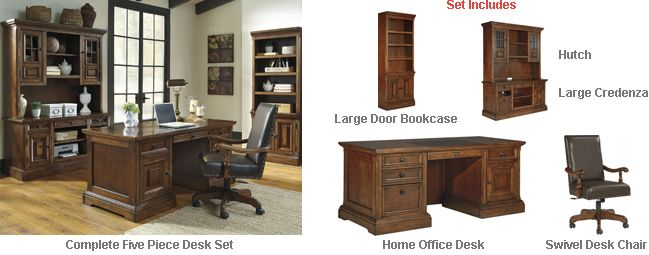 Ashley Gaylon Home Office Five Piece Desk Set - The rustic beauty of the Gaylon furniture collection brings together rich finishes and crafted details to create the inviting qualities that transform any homes decor with Vintage Casual design. With the framed door accents and stacked moulding details along with the upholstered office chair beautifully adorned with nail head accents, the Gaylon home office collection is a sure way to bring Vintage Casual to your home office environment.