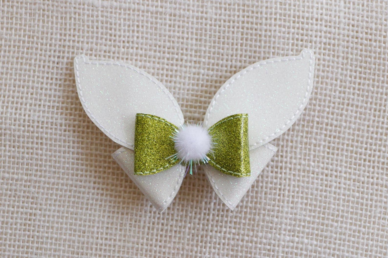 Embroidery Hair Bows Glitter Hair Accessories Vinyl Hair Bow