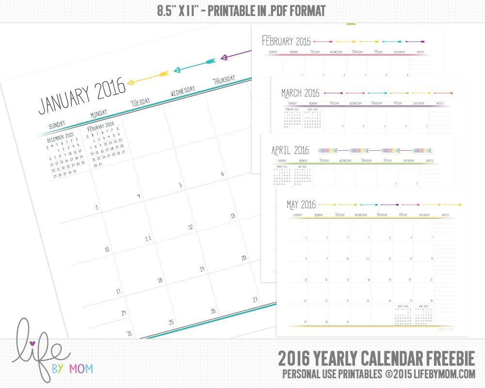 Free  Monthly Calendar  Printables    Planners