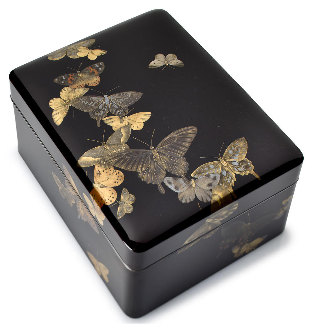 A lacquer cosmetic box (tebako) Attributed to Shirayama Shosai, (1853-1923), 19th century The rectangular box with a slightly domed cover and designed with a variety of butterflies rendered in iro-e togidashi against a glossy roiro ground, the interior hirame on a roiro-nuri ground, silver rims With a wood storage box with a paper label on the exterior inscribed Maki-e cho tsukushi mon go tebako den Shosai saku (Lacquer cosmetic box with butterfly design, attributed to Shosai)