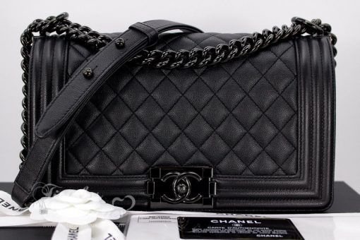 31a0d13d01c9 CHANEL 17S 'SO BLACK' IRIDESCENT CAVIAR BOY FLAP BAG BLACK HW – Jill's  Fashion Base