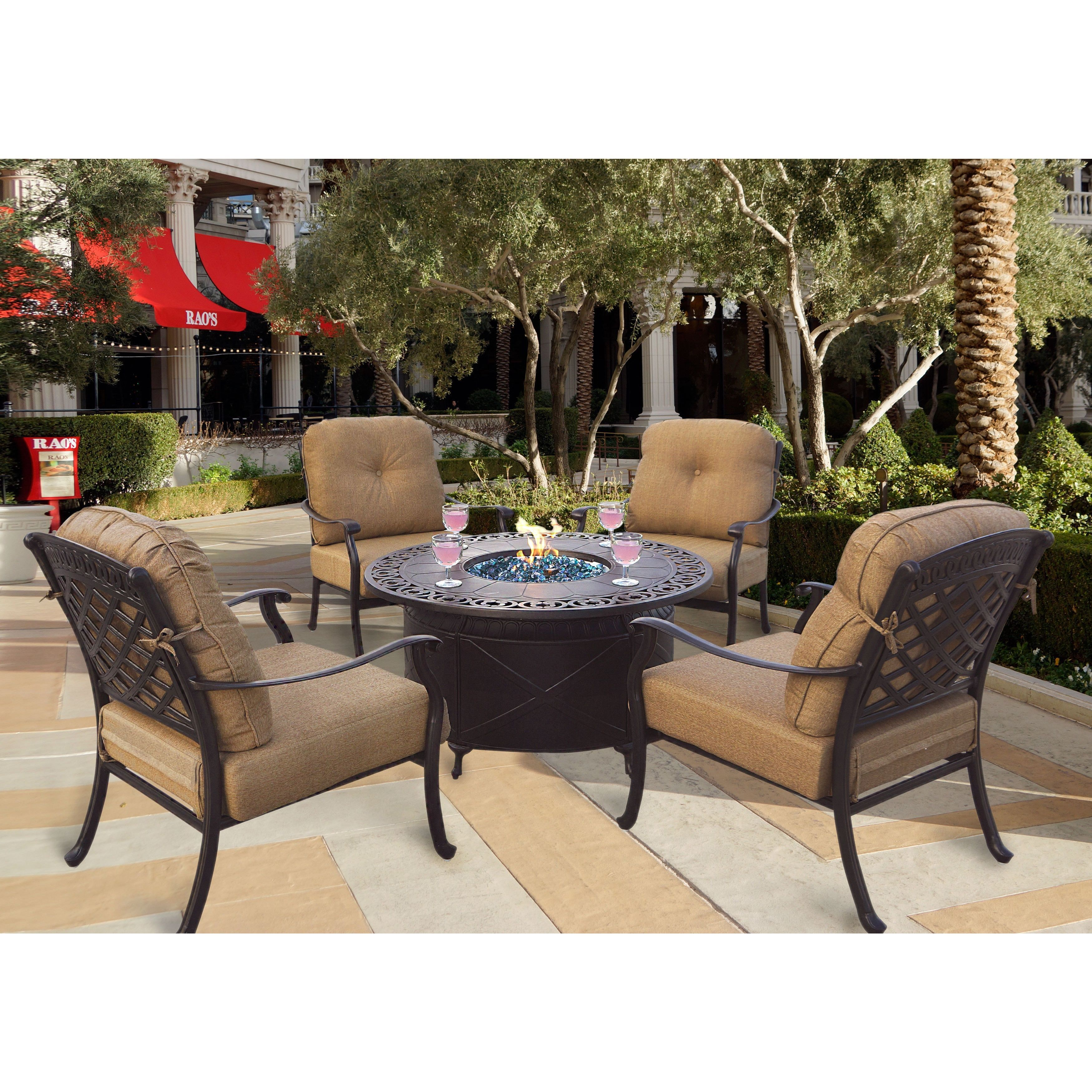 Darlee Oceanside Cast Aluminum 5 Piece Chat Set 47 Round Propane Fire Pit Table Antique Bronze Beige Size Sets Patio Furniture