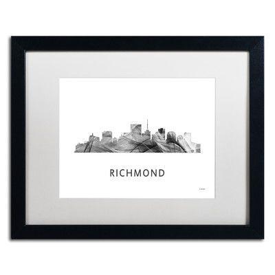 "Trademark Art ""Richmond Virginia Skyline WB-BW"" by Marlene Watson Framed Graphic Art Size: 1"