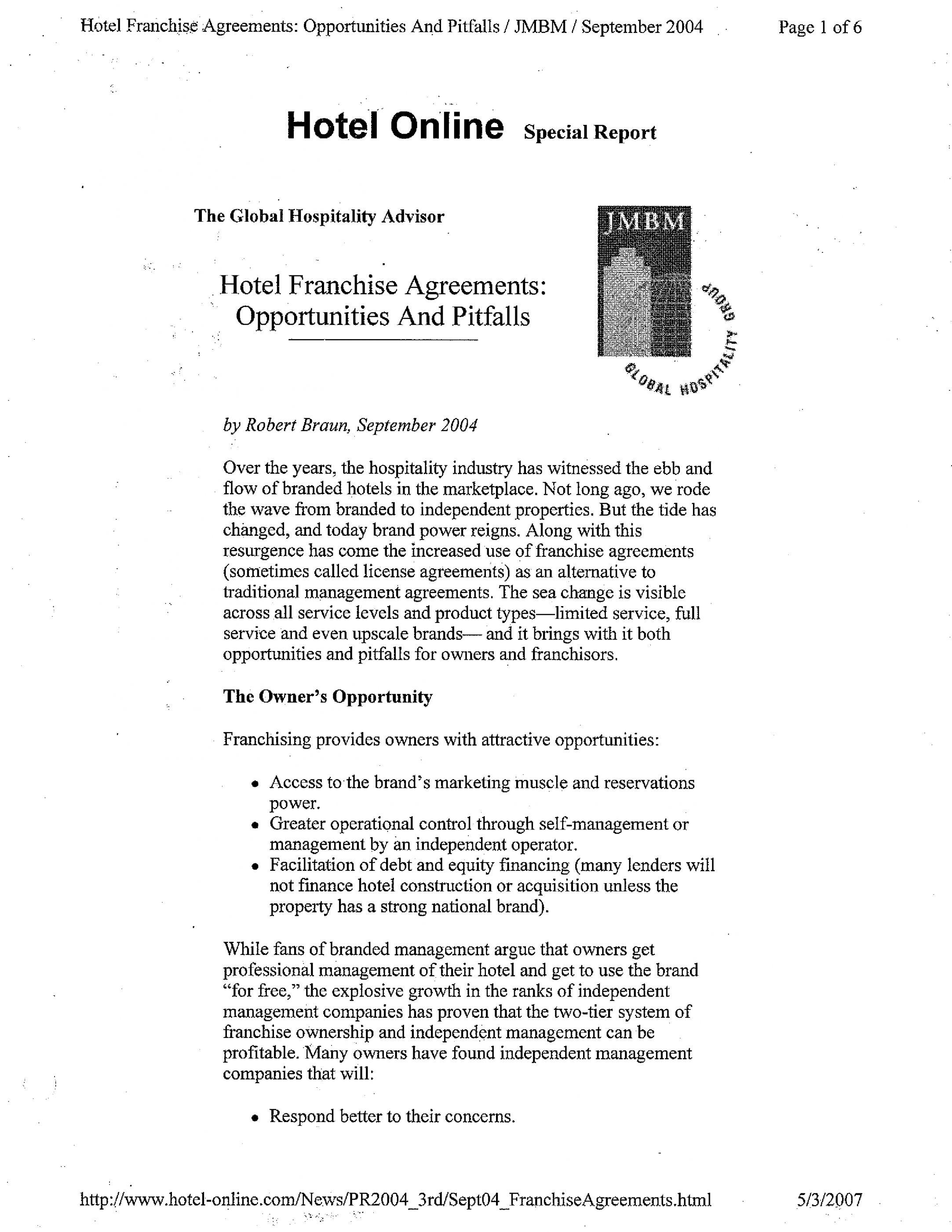 Hotel Franchise Agreement Sample In 2020 Franchise Agreement