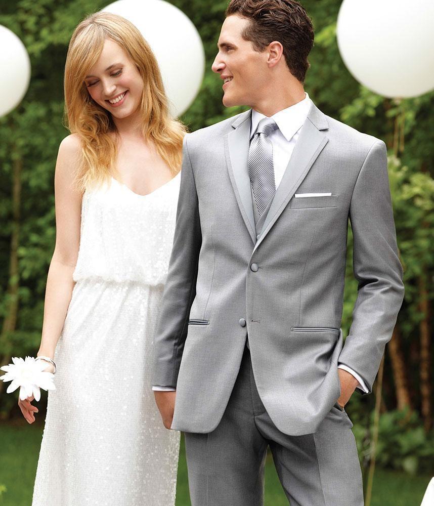 New Arrival light grey wedding suits for men notched lapel men ...