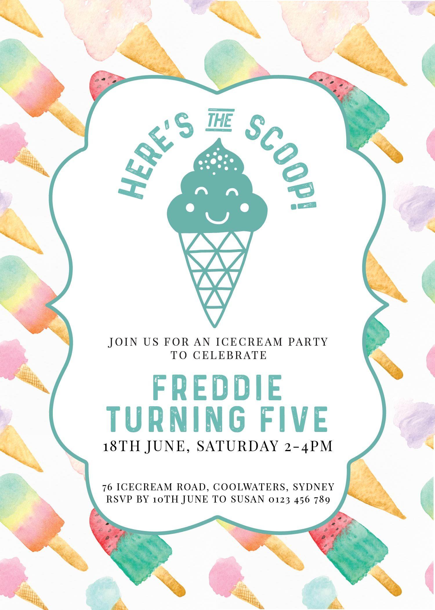 Ice Cream Birthday Invitation Printable Here s The Scoop Printable
