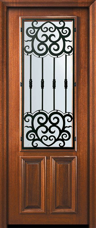 36 X 96 2 3 Lite Barcelona Mahogany Door Iron Doors Wrought Iron Doors Wood Exterior Door
