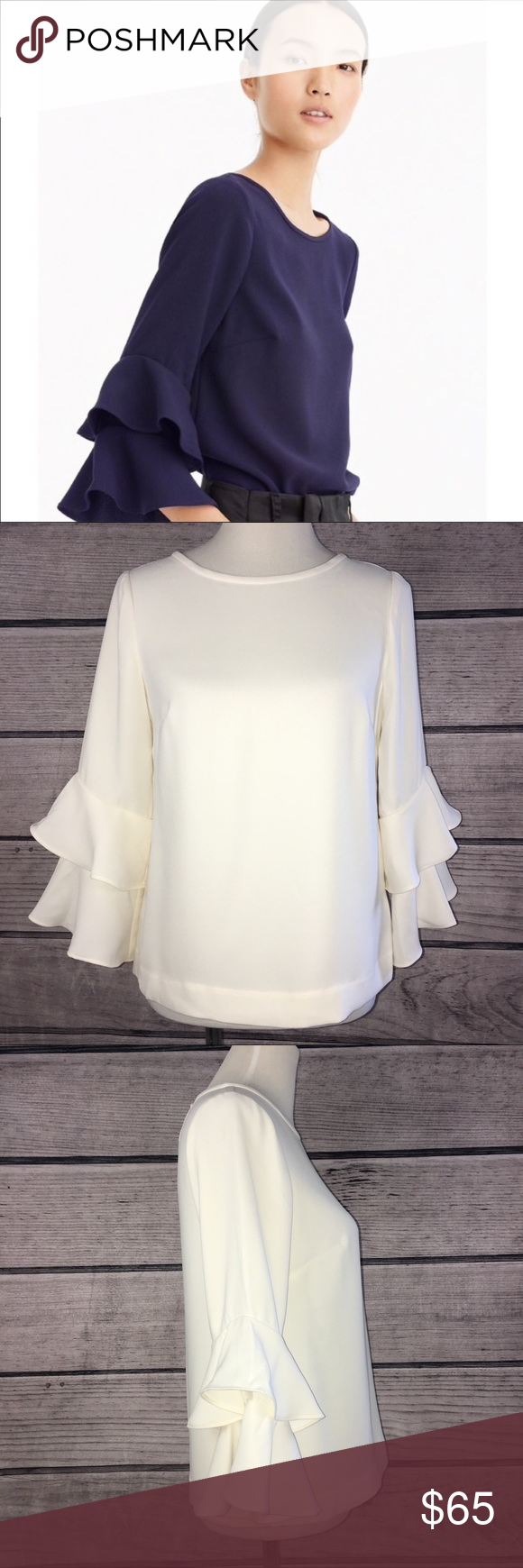 319e481b03c898 J. Crew | NWT Tiered Bell Sleeve Top Ivory 2 New J. Crew tiered belle  sleeve blouse in women's size 2. New with tags Fabric: 100% polyester  Style: H2197 J. ...