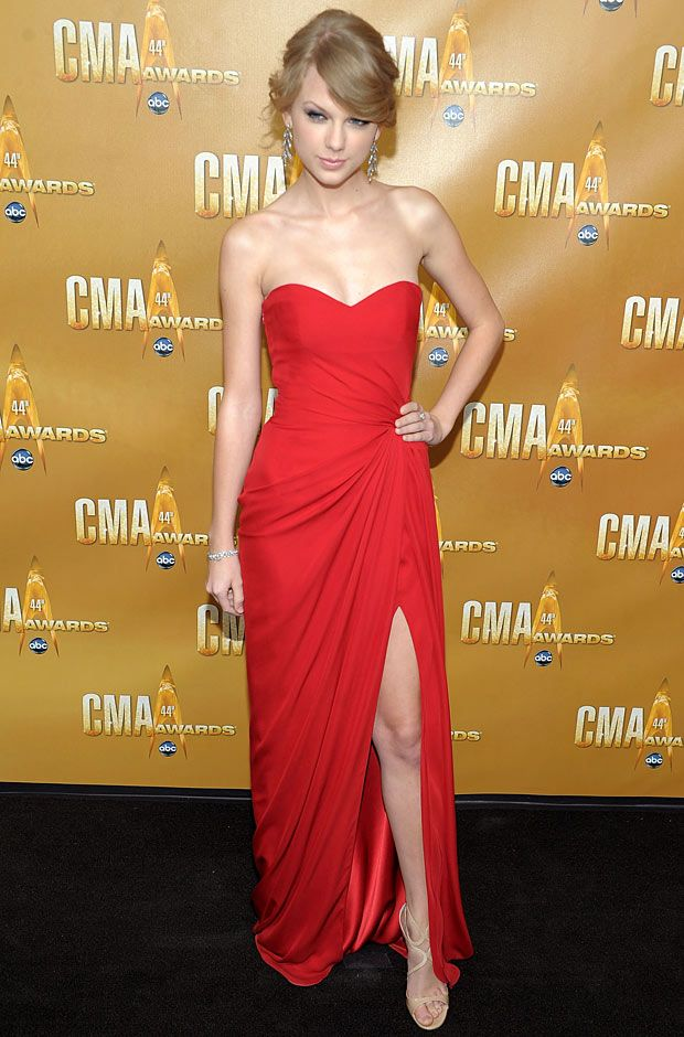 red dress on red carpet.