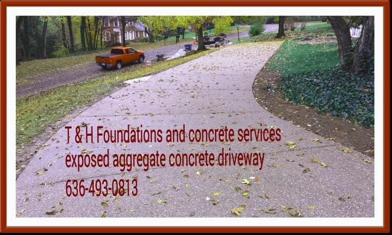 Exposed aggregate concrete driveway by T & H Foundations