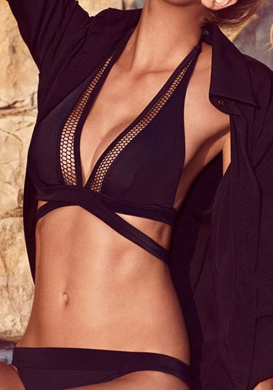 Black Plain Hollow-out Halter 2-in-1 Swimwear  -flippin' ell this is sexy