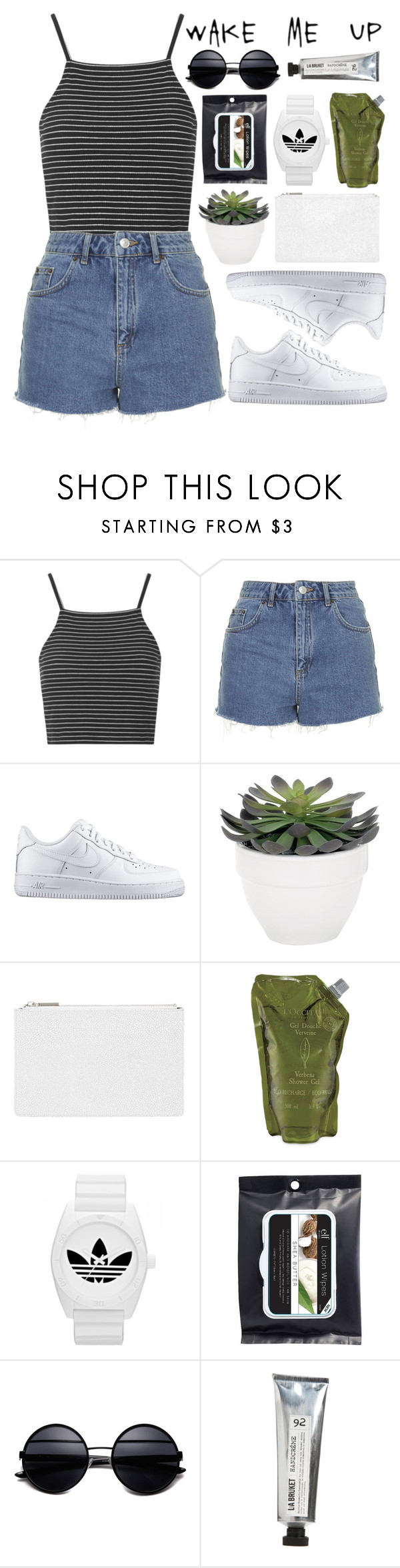 """""""#480 Summer"""" by mia5056 ❤ liked on Polyvore featuring Topshop, NIKE, Torre & Tagus, Whistles, L'Occitane, adidas and L:A Bruket"""