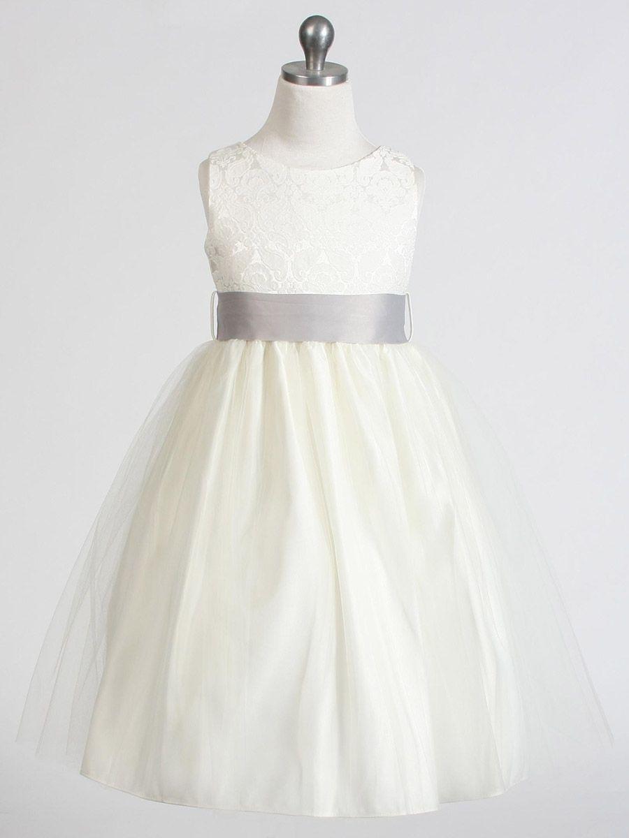 fa3ff2d509bb Ivory Jacquard Bodice w  Tulle Skirt   Removable Sash