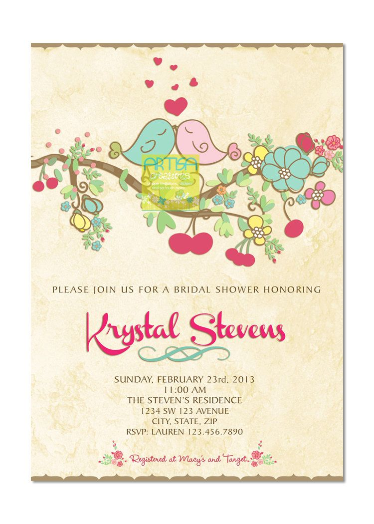 Love Birds Bridal Shower Invitation - Spring Love Birds Bridal ...