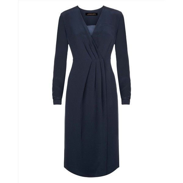 Jaeger Jaeger Tailored Wrap Dress (1.020 RON) ❤ liked on Polyvore featuring dresses, wrap dress, wrap style dress, tailored dress and jaeger dresses