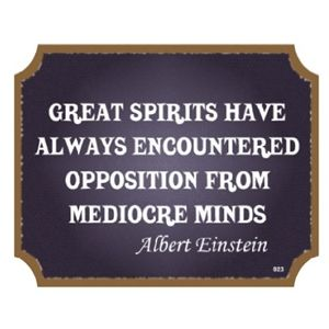 "Albert Einstein ""Great spirits have always encountered violent opposition from mediocre minds."""