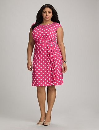 ad5d37f2465 Plus Size Knot Front Polka Dot Dress