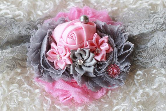 navy grey pink Shabby Headband baby by https://sallyannasunshine.com/